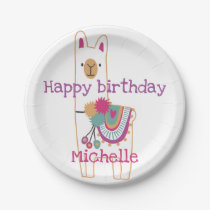 Cute llama design with custom background color paper plate
