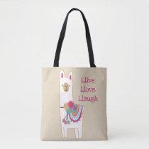 Cute llama design with custom background color tote bag