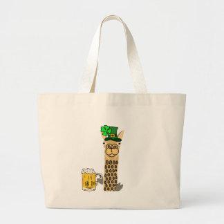Cute Llama Drinking Beer St. Patrick's Day Cartoon Large Tote Bag