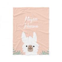 Cute Llama Fleece Blanket
