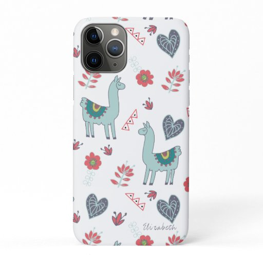 Cute Llama Flower Hearts Folk Art Doodle Name iPhone 11 Pro Case