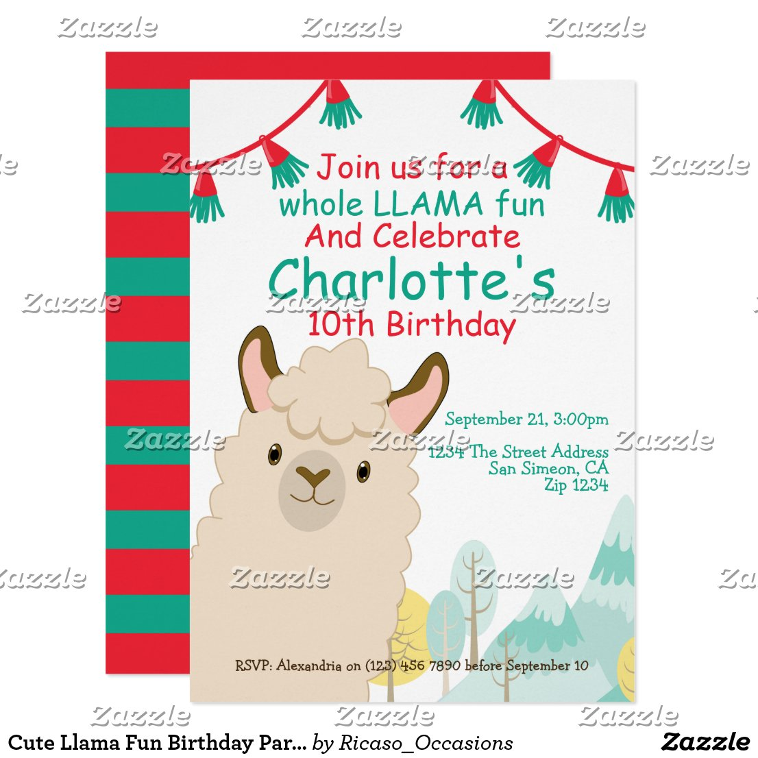 Cute Llama Fun Birthday Party Card