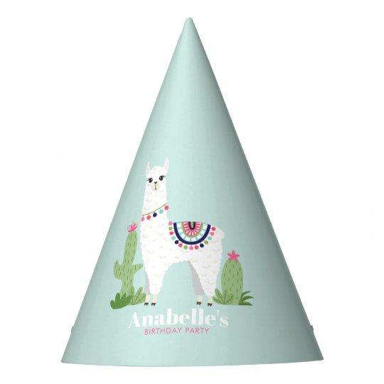 Cute Llama Girls Birthday Party Hat