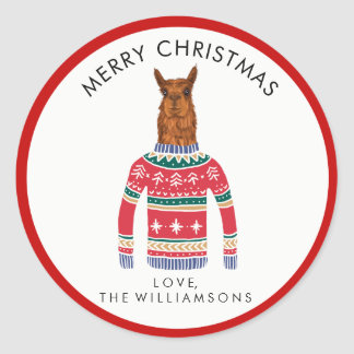 Cute Llama Wearing Funny Ugly Christmas Sweater Classic Round Sticker