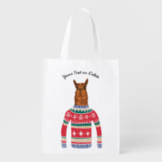 Cute Llama Wearing Funny Ugly Christmas Sweater Grocery Bag