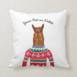 Cute Llama Wearing Funny Ugly Christmas Sweater Throw Pillow