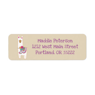 Cute llama with custom background color label
