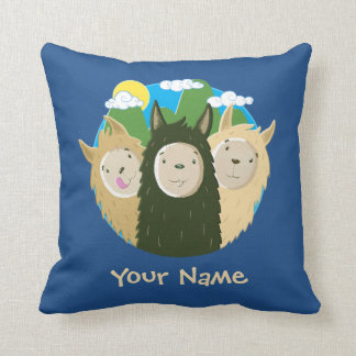 Cute Llamas in the Mountains Throw Pillow