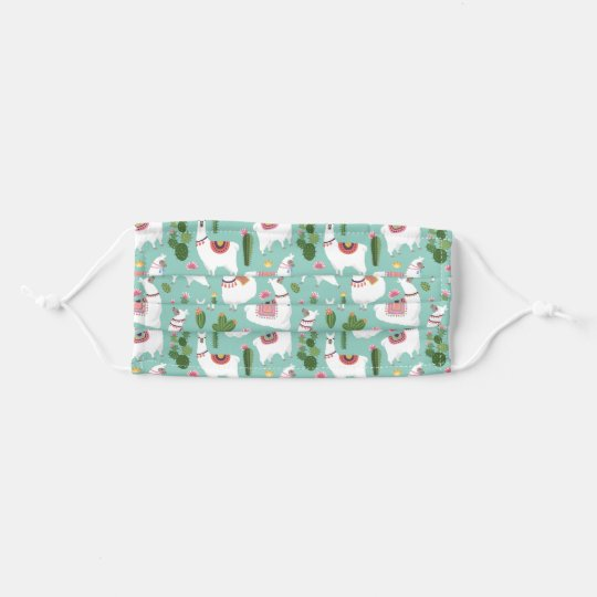 Cute Llamas On Teal Pattern Cloth Face Maskcom
