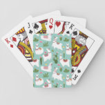 Cute Llamas On Teal Pattern Playing Cards