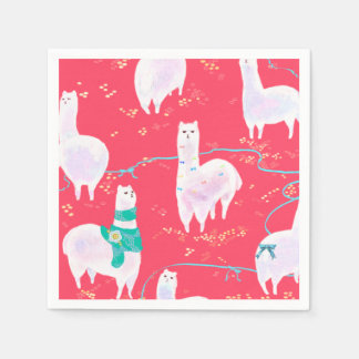 Cute llamas Peru illustration red background Paper Napkin