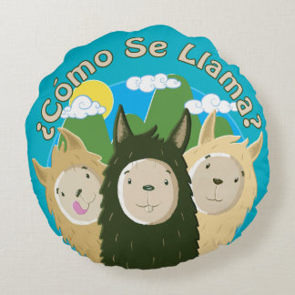 Cute Llamas Round Pillow