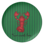 Cute lobster green stripes plate