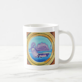 Cute Loch Ness monster looking through port hole Coffee Mug