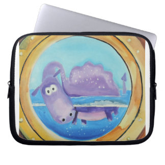 Cute Loch Ness monster looking through port hole Computer Sleeve
