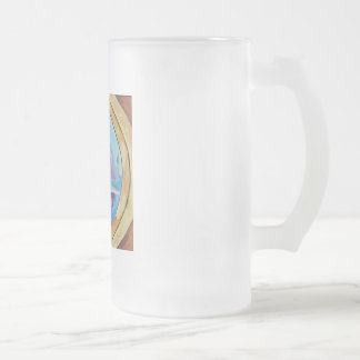 Cute Loch Ness monster looking through port hole Frosted Glass Beer Mug