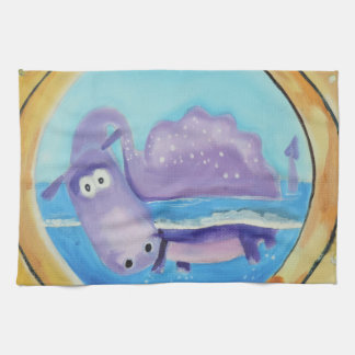 Cute Loch Ness monster looking through port hole Kitchen Towel
