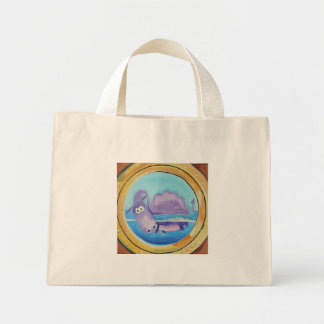 Cute Loch Ness monster looking through port hole Mini Tote Bag