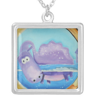 Cute Loch Ness monster looking through port hole Square Pendant Necklace