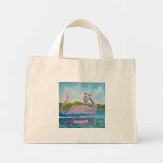 Cute loch ness monster picture mini tote bag