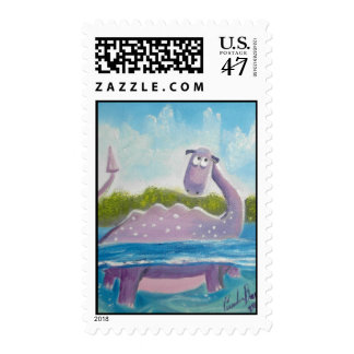 Cute loch ness monster picture postage