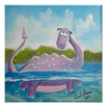Cute loch ness monster picture poster