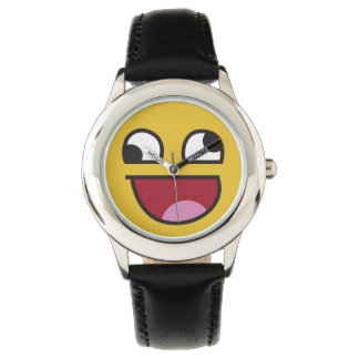 Cute lol wonky eyes emoji wristwatch