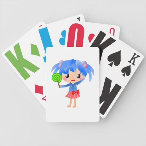 CUTE LOLLIPOP BLUE HAIR GIRL CARTOON HAPPY SWEETHE BICYCLE PLAYING CARDS