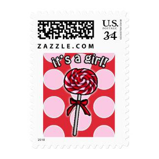 Cute Lollipop It's A Girl Stamps