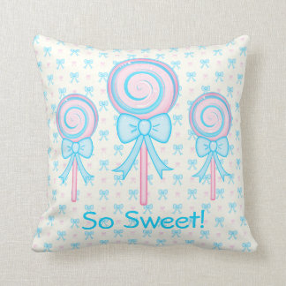Cute Lollipops Throw Pillow