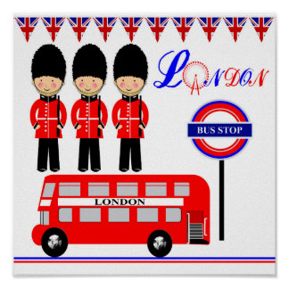 Cute LondonThemed Kids Picture Poster