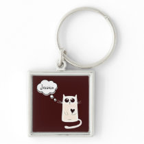 Cute Lonely Hearts Cat Personalised Keychain