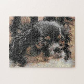 Cute Long Hair Chihuahua Artwork Puzzle