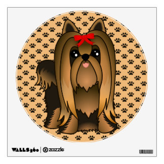 Cute Long Hair Yorkshire Terrier Puppy Dog Wall Sticker