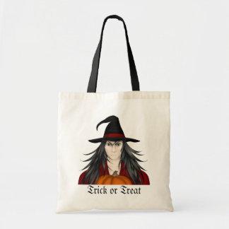Cute long haired cartoon Halloween wizard Tote Bag