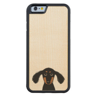 Cute Long Haired Dachshund Puppy Carved® Maple iPhone 6 Bumper Case