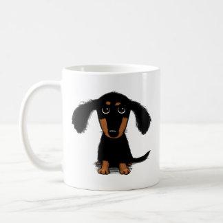 Cute Long Haired Dachshund Puppy Coffee Mug