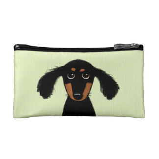 Cute Long Haired Dachshund Puppy Cosmetic Bag