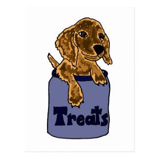 Cute Long-Haired Dachshund Puppy in Treats Jar Postcard