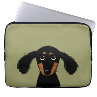 Cute Long Haired Dachshund Puppy Laptop Sleeves