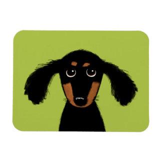 Cute Long Haired Dachshund Puppy Rectangular Photo Magnet