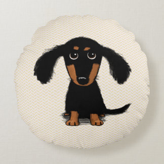 Cute Long Haired Dachshund Puppy Round Pillow