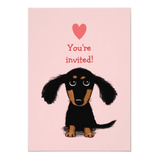 Cute Long Haired Dachshund Puppy Valentine's Party 5x7 Paper Invitation Card