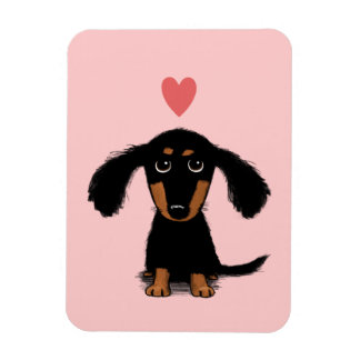 Cute Long Haired Dachshund Puppy with Heart Rectangular Photo Magnet