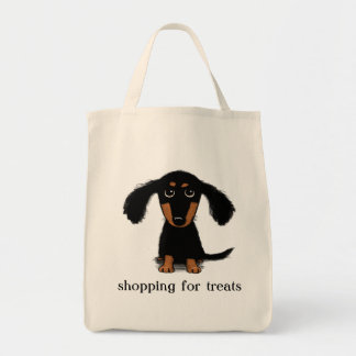 Cute Long Haired Dachshund Puppy with Text Grocery Tote Bag