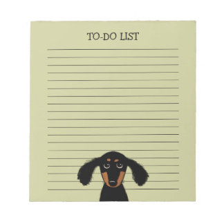 Cute Long Haired Dachshund Puppy with Text Notepad