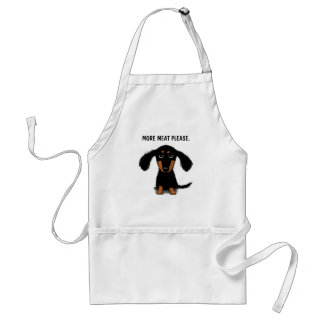 Cute Long Haired Dachshund with Custom Text Adult Apron