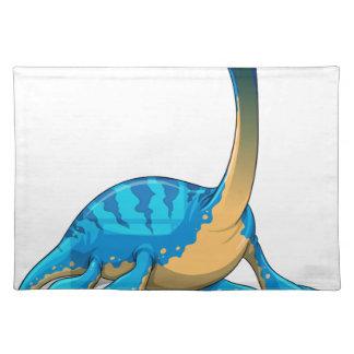 Cute long neck blue dinosaur on white cloth place mat