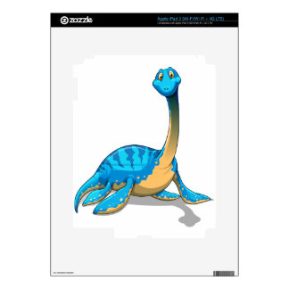 Cute long neck blue dinosaur on white iPad 3 decal