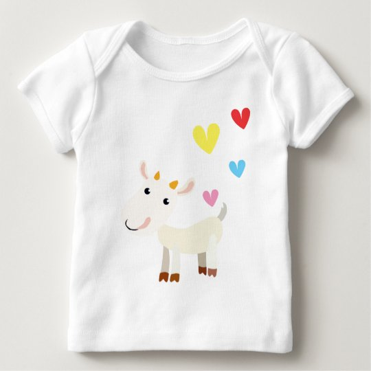 Cute Long Sleeve Baby Top with Goat and Hearts